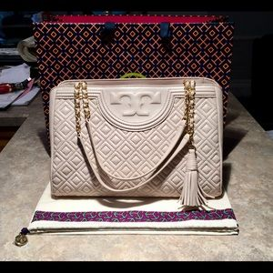 Tory Burch Quilted Leather Fleming Tote Bedrock